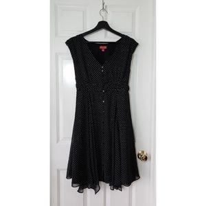 Elle Handkerchief Polka Dot Button Down Dress, M